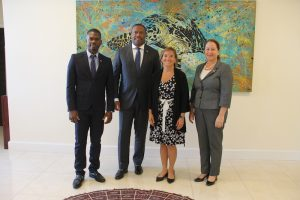 (l-r) Protocol Officer-designate to Her Excellency Ms. Marie Legault, High Commissioner of Canada to Barbados and the Eastern Caribbean; Hon. Mark Brantley, Premier of Nevis; Her Excellency Marie Legault, High Commissioner of Canada to Barbados and the Eastern Caribbean; and Ms. Jessica Mackie, Political and Public Affairs Officer