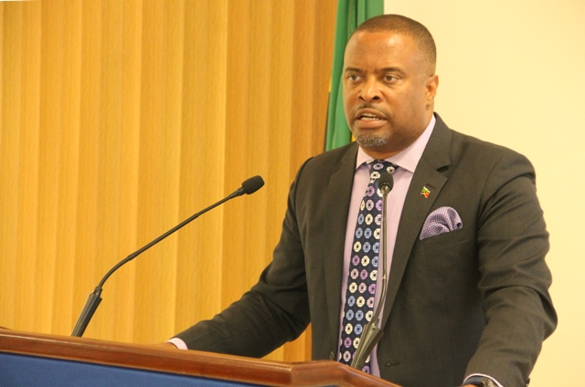 Hon. Mark Brantley, Premier of Nevis at his 5thmonthly press conference at the Cabinet Room at Pinney's Estate onJune 25, 2018