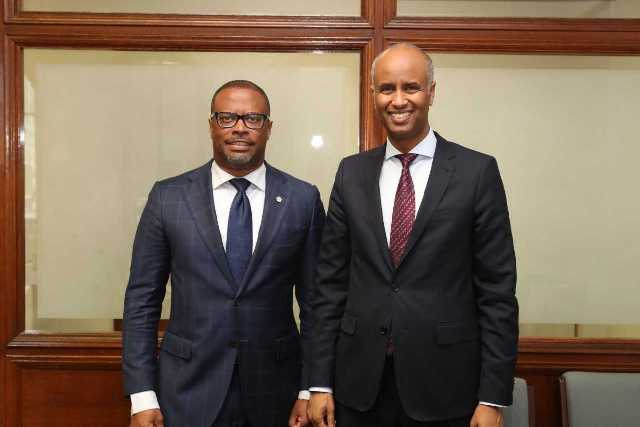(l-r) Hon. Mark Brantley, Minister of Foreign Affairs and Aviation with Hon. Ahmed Hussen, Minister of Immigration, Refugees and Citizenship