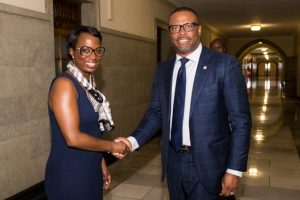 (l-r) Hon. Celina Caesar-Chavannes, Parliamentary Secretary to the Minister of International Development and Hon. Mark Brantley, Minister of Foreign Affairs and Aviation