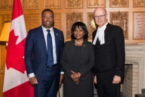 (l-r) Hon. Mark Brantley, Minister of Foreign Affairs and Aviation and Ms. Sherry Tross, St. Kitts and Nevis High Commissioner to Canada with Hon. Geoff Regan, Speaker of the House of Commons