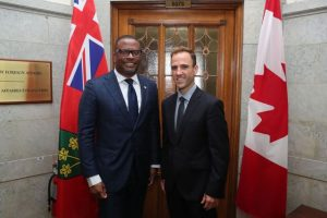 Hon. Mark Brantley, Minister of Foreign Affairs and Aviation with Hon. Matt DeCourcey, Parliamentary Secretary to the Minister of Foreign Affairs