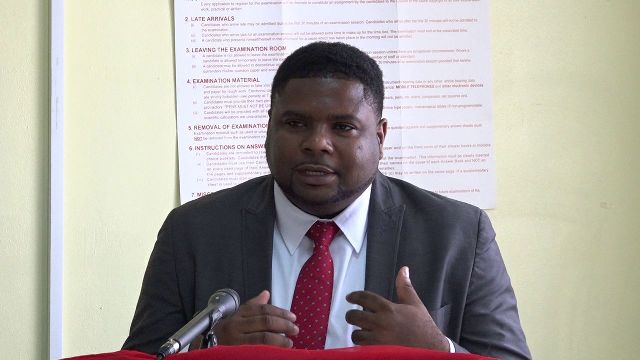 Hon. Troy Liburd, Junior Minister of Education and Library Services in the Nevis Island Administration at the opening ceremony of the two-week Prospective Teachers' Course at Marion Heights on June 25, 2018