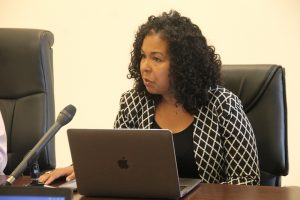 Dr. Neva Pemberton, Chief of Education Planner in St. Kitts and Nevis gives a brief overview of the meeting on June 27, 2018 in the Conference Room of the Social Security Building