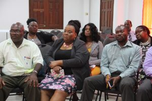 A section of education officials on Nevis discussing ideas with United Nations Educational, Scientific and Cultural Organisation representatives at the St. Paul's Anglican Church Hall on June 27, 2018
