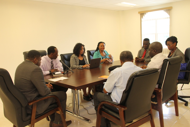 (l-r around the table) Hon. Troy Liburd, Junior Minister of Education and Library Services; Mr. Kevin Barrett, Permanent Secretary in the Ministry of Education and Library Services welcomes Dr. Neva Pemberton, Chief of Education Planner in St. Kitts and Nevis; Mrs. Carla Mills-Diamond, Focal Point of the International Teachers' Task Force; Mr. Antonio Maynard, Secretary General of the St. Kitts Nevis National Commission for UNESCO; Mrs. Lisa Pistana, Education Officer, Ministry of Education in St. Kitts; Dr. Edem Adubra, Head of the Secretariat of the International Task Force on Teachers, UNESCO; and Mr. Claude Akpabie, Education Programme Specialist, UNESCO Caribbean Office in the Conference Room of the Social Security Building on June 27, 2018