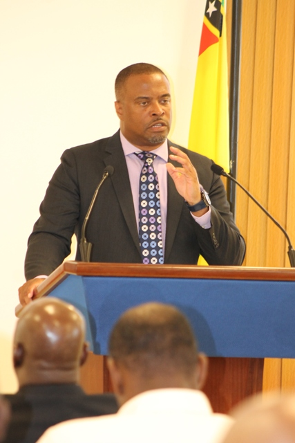 Hon. Mark Brantley, Premier of Nevis at his 5th monthly press conference at the Nevis Island Administration's Cabinet Room at Pinney's Estate on June 25, 2018
