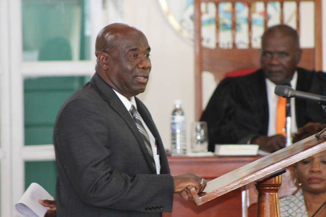 Hon. Alexis Jeffers, Deputy Premier of Nevis and Minister responsible for Disaster Management, at a sitting of the Nevis Island Assembly on July 03, 2018