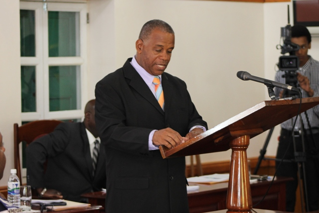 Hon. Eric Evelyn, Minister of Information and Information Services on Nevis, making his presentation at a sitting of the Nevis Island Assembly on July 03, 2018