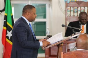 Hon. Mark Brantley, Premier of Nevis and Minister of Finance in the Nevis Island Administration, at a sitting of the Nevis Island Assembly on July 03, 2018