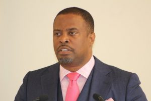 Hon. Mark Brantley, Premier of Nevis at his monthly press conference at the Nevis Island Administration's conference room at Pinney's Estate on July 26, 2018