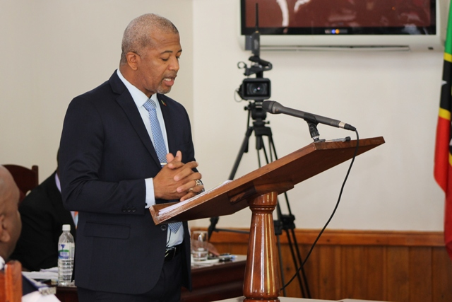 Hon. Spencer Brand, Minister with responsibility for Public Works on Nevis during a Nevis Island Assembly sitting on July 03, 2018