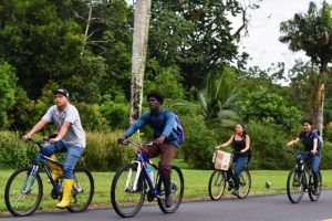 Nevisian Leron Webbe of Gingerland (front right) cycling with fellow students at the EARTH University in Costa Rica, is living a truly multicultural experience, with classmates that come form 40 countries from around the world