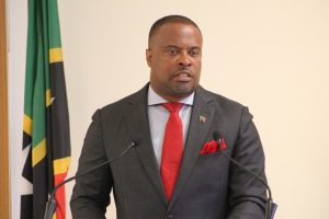 Hon. Mark Brantley, Premier of Nevis, at his monthly press conference at the Nevis Island Administration's Cabinet Room at Pinney's Estate on August 29, 2018