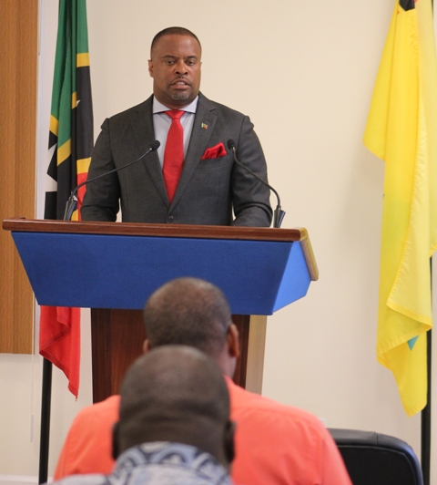 Hon. Mark Brantley, Premier of Nevis at his monthly press conference at the Nevis Island Administration's Cabinet Room at Pinney's Estate on August 29, 2018
