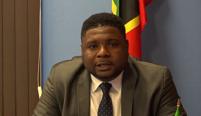 Hon. Troy Liburd Junior Minister in the Ministry of Education on Nevis delivering his address from his Pinney's Estate office on August 30, 2018