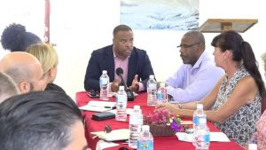 Hon. Mark Brantley, Premier of Nevis addressing hoteliers at the Oualie Beach Resort on July 31, 2018 at a monthly meeting of the St. Kitts and Nevis Hotel and Tourism Association