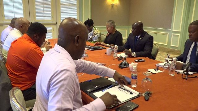 The Cabinet of the Nevis Island Administration at a retreat at the Four Seasons Resort on August 21, 2018