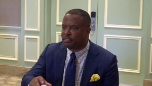 Hon. Mark Brantley, Premier of Nevis, at a Cabinet Retreat at the Four Seasons Resort on August 21, 2018