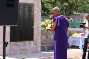 Her Honour Marjorie Morton, Acting Deputy Governor General laying a wreath at the Christena Memorial on Samuel Hunkins Drive at a Memorial Service hosted by the Nevis Island Administration on August 01, 2018, commemorating the 48th anniversary of the Christena Disaster