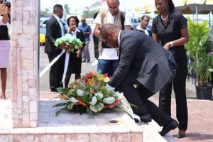 Hon. Mark Brantley, Premier of Nevis laying a wreath at the Christena Memorial on Samuel Hunkins Drive at a Memorial Service hosted by the Nevis Island Administration on August 01, 2018, commemorating the 48thanniversary of the Christena Disaster