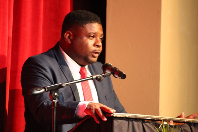 Hon. Troy Liburd, Junior Minister of Education on Nevis delivering remarks at the opening ceremony of the Department of Education's annual Back to School 2018 exercise at the Nevis Performing Arts Centre on August 27, 2018