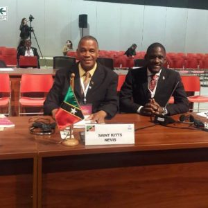 (L-r) Hon. Eric Evelyn, Minister of Social Development in the Nevis Island Administration and Mr. Anslem Caines, Senior Policy Officer in the Social Policy and Sustainable Development Unit on Nevis, at the 3rd session of the Regional Conference on Population and Development in Latin America and the Caribbean in Lima, Peru from August 7 to 9, 2018