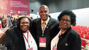 Hon. Eric Evelyn, Minister of Social Development in the Nevis Island Administration with other participants at the 3rd session of the Regional Conference on Population and Development in Latin America and the Caribbean in Lima, Peru from August 7 to 9, 2018