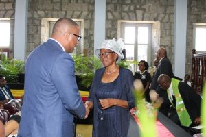 Hon. Mark Brantley, Premier of Nevis greeting newly sworn in Deputy Governor General for Nevis Her Honour Hyleta Liburd at the High Court in Charlestown on August 31, 2018