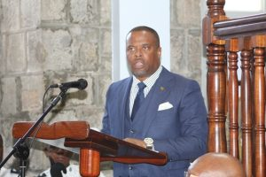 Hon Mark Brantley, Premier of Nevis delivering remarks at the swearing-in ceremony for the new deputy governor general for Nevis at the High Court in Charlestown on August 31, 2018