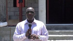 Hon. Alexis Jeffers, Deputy Premier of Nevis and Area Representative for the St. James Parish during a visit to the construction site for the new Newcastle Police Station on August 22, 2018