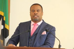 Hon. Mark Brantley, Premier of Nevis, at his monthly press conference at the Nevis Island Administration's conference room at Pinney's Estate