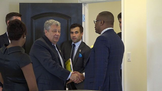 Hon. Mark Brantley, Minister of Foreign Affairs and Premier of Nevis welcomes Mr. Arkady Chenertsky, First Deputy Chair of the Russian Federation Council Committee on Federal Structure, Regional Policy, Local Government and Northern Affairs and members of his delegation to his Pinney's Estate office on August 21, 2018