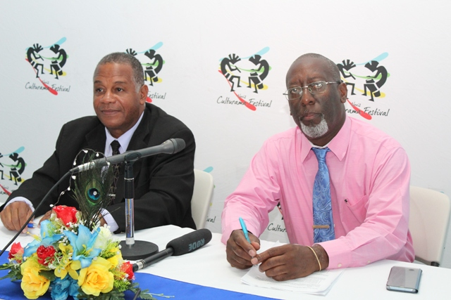 (L-R) Hon. Eric Evelyn, Minister of Culture in the Nevis Island Administration; and Mr. Abonaty Liburd, Executive Director of the Culturama Secretariat and Chairman of the Nevis Culturama 44 at a press conference at the Cultural Village on September 06, 2018