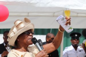 Deputy Governor General for Nevis Her Honour Mrs. Hyleta Liburd, raising a toast to St. Kitts and Nevis in celebration of its 35th Anniversary of Independence at the Royal St. Christopher and Nevis Police Force Nevis Division's annual Police Toast, at the Cultural Village on September 19, 2018