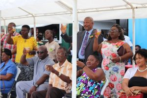 Invitees at the Royal St. Christopher and Nevis Police Force Nevis Division's annual Police Toast at the Cicely Grell Hull-Dora Stephens Netball Complex on September 19, 2018, toast in celebration of the 35th Anniversary of Independence of St. Kitts and Nevis