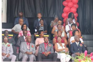 Awardees at the 35th Anniversary of Independence Ceremonial Parade and Awards Ceremony seated with other guests of the Nevis Island Administration at the Elquemedo T. Willett Park on Wednesday, September 09, 2018. First row (l-r) Mr. D. Allister Parris, Mr. Ralph Ottley, Mr. Orian Jones son of awardee Mr. Urban Jones; Ms. Chevaughn Claxton, daughter of awardee Mr. Oldain Claxton and Mr. Vincent Maynard. Second row (l-r) Mr. Claude Nisbett, Mr. Eric Maynard, Ms. Joys Clarke and Mrs. Ermine Hendrickson