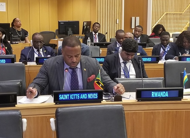 Hon. Mark Brantley, St. Kitts and Nevis Foreign Minister delivering remarks at the Commonwealth Foreign Affairs Ministers Meeting on September 27, 2018