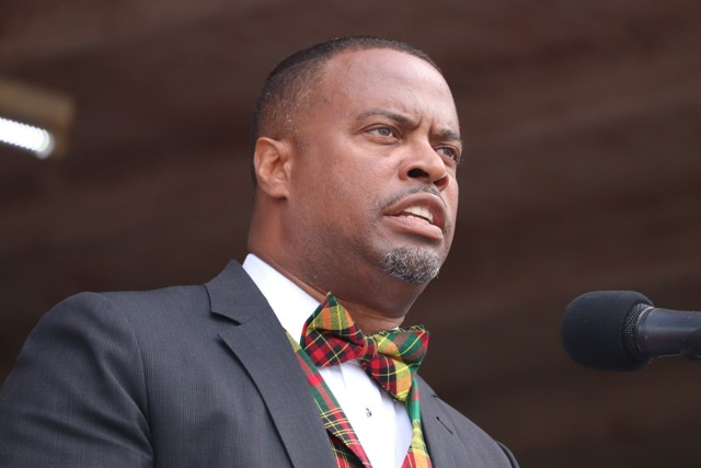 Hon. Mark Brantley, Premier of Nevis delivering an address at the 35th Anniversary of Independence Ceremonial Parade and Awards Ceremony at the Elquemedo T. Willett Park on September 09, 2018