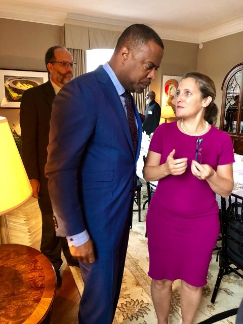 Hon. Mark Brantley, Foreign Minister of St. Kitts and Nevis, engaging Her Excellency Chrystia Freeland, Foreign Minister of Canada