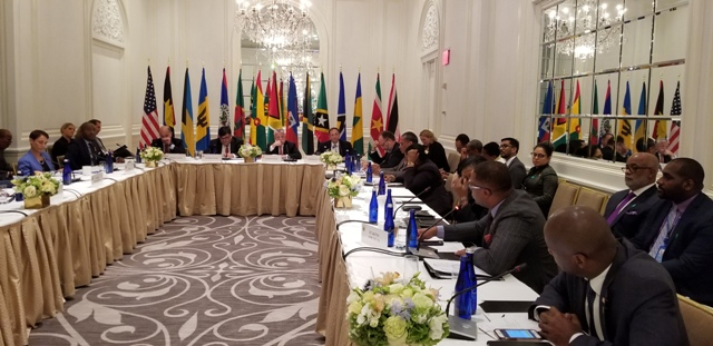 St. Kitts and Nevis Foreign Minister Hon. Mark Brantley (first row second from left) delivering remarks on behalf of the Caribbean Community at a meeting of Foreign Ministers in the region and United States of America's Deputy Secretary of State H.E. John Sullivan on September 27, 2018