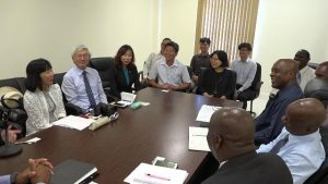 A team of senior members of the Nevis Island Administration (right) headed by Hon. Mark Brantley, Premier of Nevis at a meeting with a delegation from the Republic of China (Taiwan) headed by Resident Ambassador to St. Kitts and Nevis His Excellency Tom Lee at the conference room at Pinney's Estate on September 04, 2018