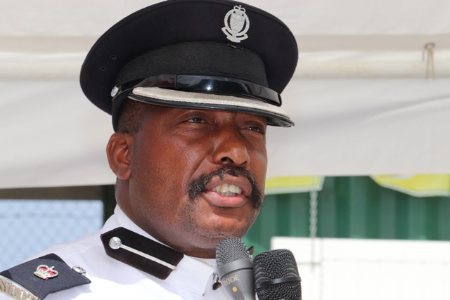 Superintendent Lyndon David, Divisional Commander at the Royal St. Christopher and Nevis Police Force, Nevis Division, at the division's annual Police Toast at the Cultural Village on September 19, 2018