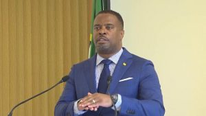 Hon. Mark Brantley, Premier of Nevis, at his recent monthly press conference at Cabinet Room at Pinney's Estate