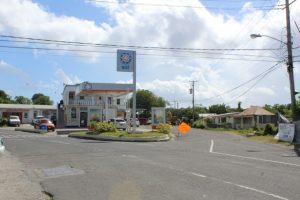 Work commences on the entrance of Bath Village at the intersection of the Island Main Road and Reliable Motors on October 23, 2018, a part of the first phase of the Nevis Island Administration's Bath Village Road Rehabilitation Project at Bath Village