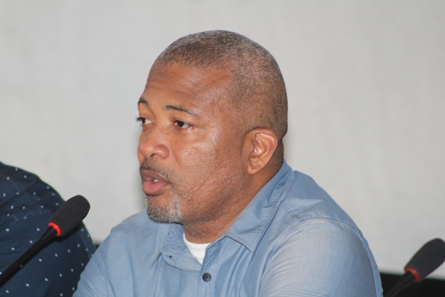 Hon. Spencer Brand, Minister of Public Works on Nevis, at a town hall meeting hosted by the Ministry of Public Works at the Albertha Payne Community Centre on October 21, 2018