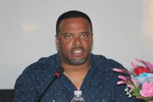 Hon. Mark Brantley, Premier of Nevis and Area representative for the Parish of St. John's delivering remarks at a town hall meeting hosted by the Ministry of Public Works at the Albertha Payne Community Centre on October 21, 2018