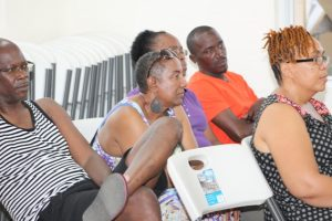 A section of members from the Bath Village community in attendance at a town hall meeting hosted by the Ministry of Public Works at the Albertha Payne Community Centre on October 21, 2018