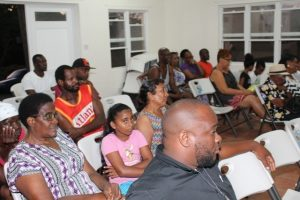 Some of the members of the Bath Village community present at the town hall meeting organised by the Ministry of Public Works at the Albertha Payne Community Centre at Bath on October 21, 2018