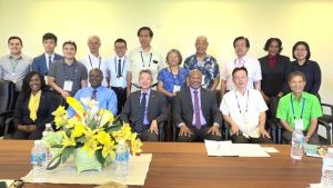 His Excellency Tom Lee, Ambassador of the Republic of China (Taiwan) to St. Kitts and Nevis (front row third from left) and members of a trade delegation from the Republic of China (Taiwan) meeting with Hon. Spencer Brand, Acting Premier of Nevis, (front row third from right) and other senior members of the Nevis Island Administration – (front row l-r) Ms. Kimone Moving, Director of Nevis Investment Promotion Agency; Dr. Ernie Stapleton, Permanent Secretary in the Ministry of Public Works, Physical Planning, Posts and the Environment; and (back row second from right) Mrs. Joan Browne, Principal Assistant Secretary in the Ministry of Finance, at the Nevis Island Administration's Cabinet room on October 30, 2018, during a one-day visit to Nevis